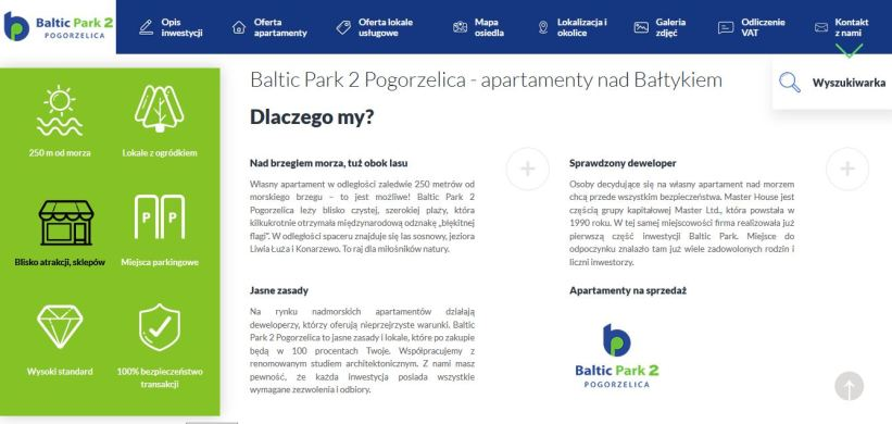 Moje teksty na stronie kompeksu apartmentów nad morzem Baltic Park 2